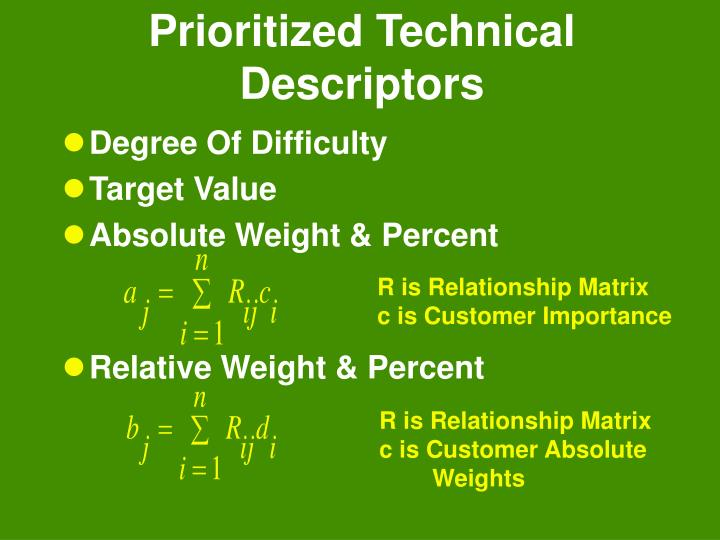 Prioritized Technical Descriptors