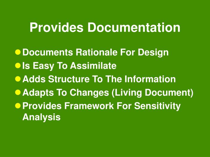 Provides Documentation