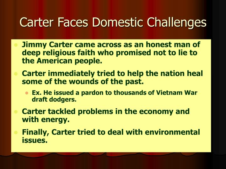 Carter Faces Domestic Challenges