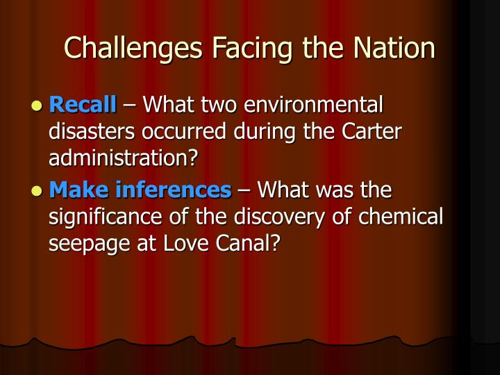 Challenges Facing the Nation