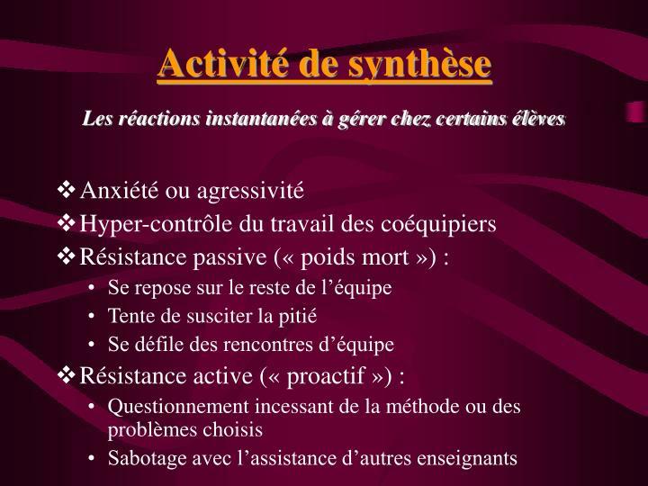 Activité de synthèse