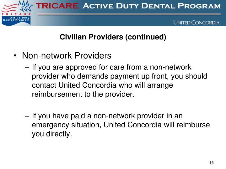 Civilian Providers (continued)