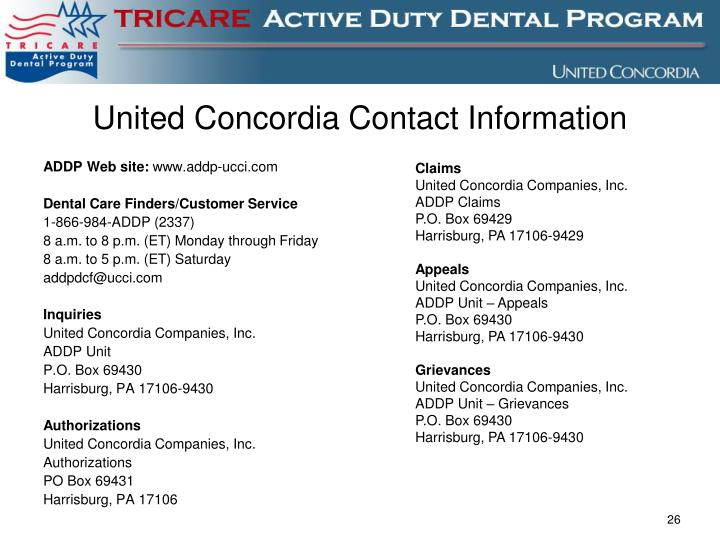 United Concordia Contact Information
