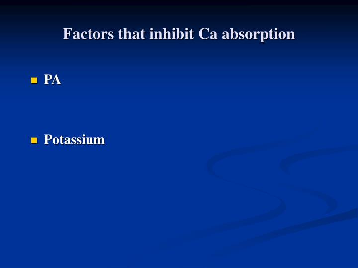 Factors that inhibit Ca absorption
