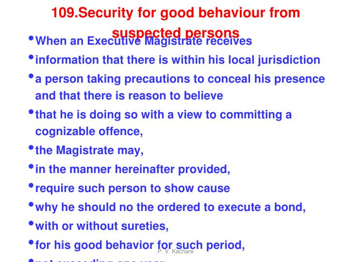 109.Security for good behaviour from suspected persons
