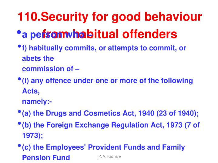 110.Security for good behaviour from habitual offenders
