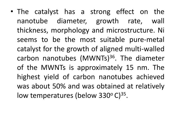 The catalyst has a strong effect on the nanotube diameter, growth rate, wall thickness, morphology and microstructure. Ni seems to be the most suitable pure-metal catalyst for the growth of aligned multi-walled carbon nanotubes (MWNTs)