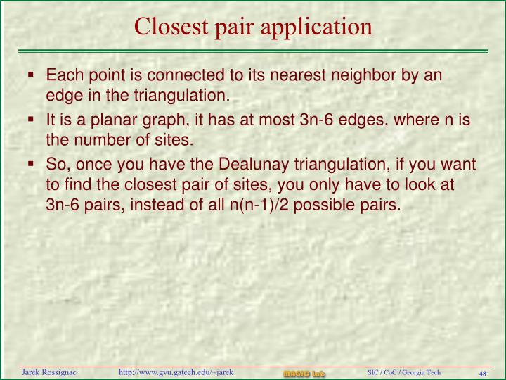 Closest pair application