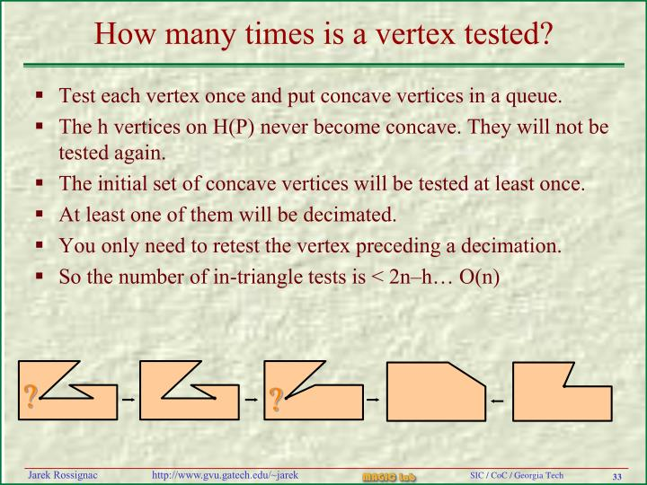 How many times is a vertex tested?
