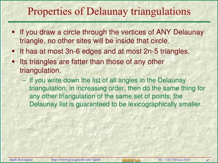 Properties of Delaunay triangulations