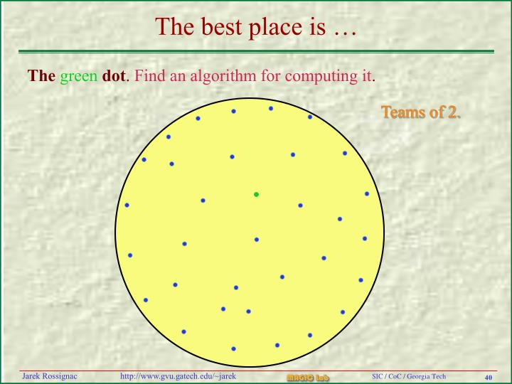 The best place is …