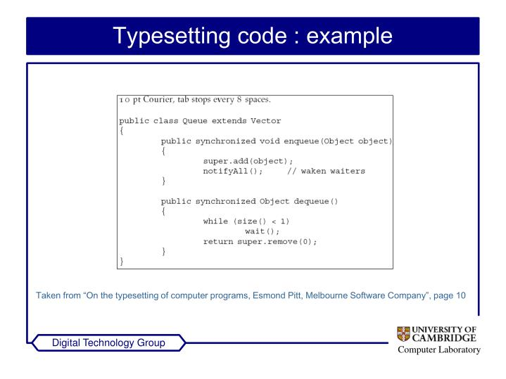 Typesetting code : example