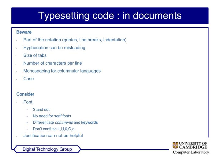 Typesetting code : in documents
