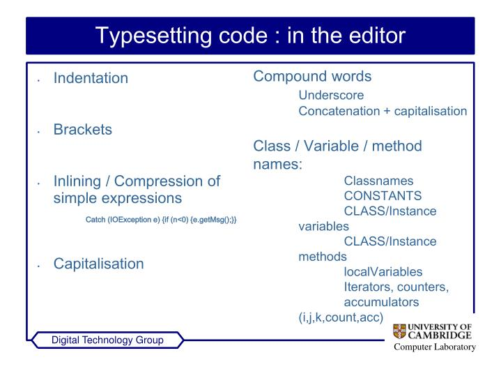 Typesetting code : in the editor