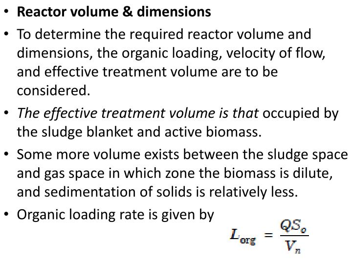 Reactor volume & dimensions