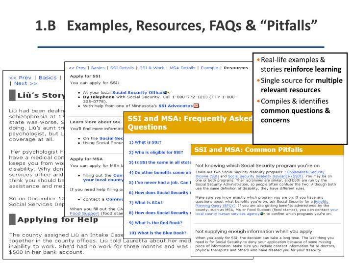 "1.B   Examples, Resources, FAQs & ""Pitfalls"""