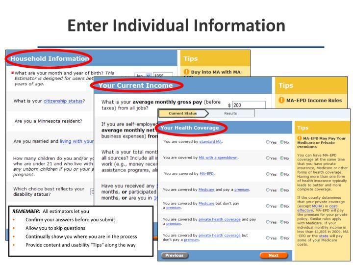 Enter Individual Information