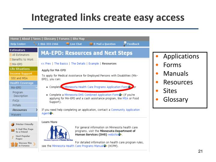 Integrated links create easy access