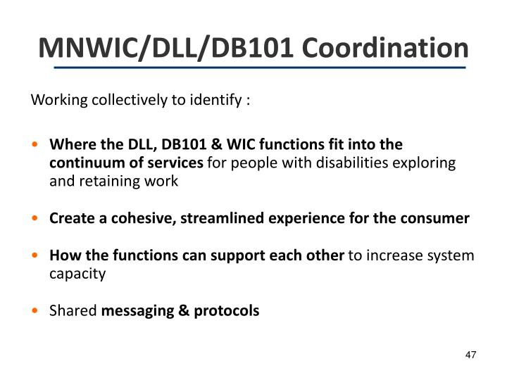 MNWIC/DLL/DB101 Coordination