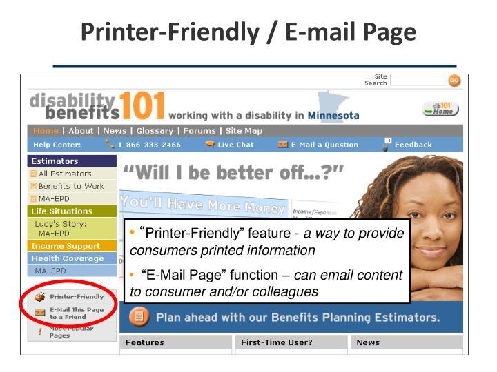 Printer-Friendly / E-mail Page