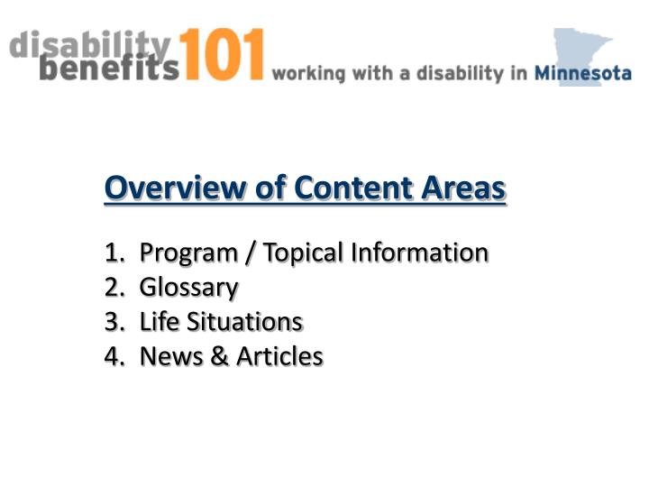 Overview of Content Areas