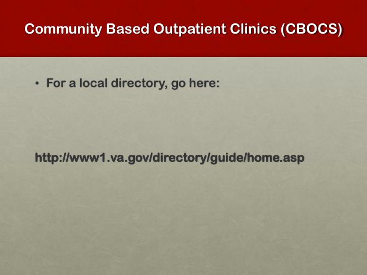Community Based Outpatient Clinics (CBOCS)