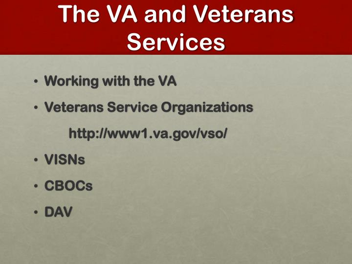 The VA and Veterans Services
