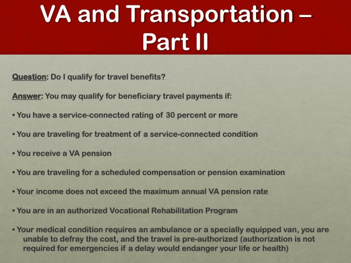 VA and Transportation –