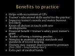 benefits to practice