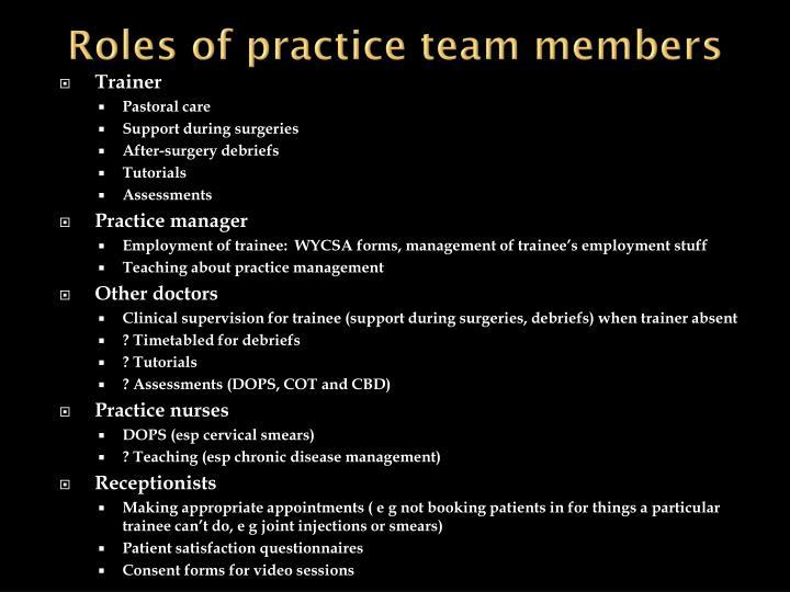 Roles of practice team members