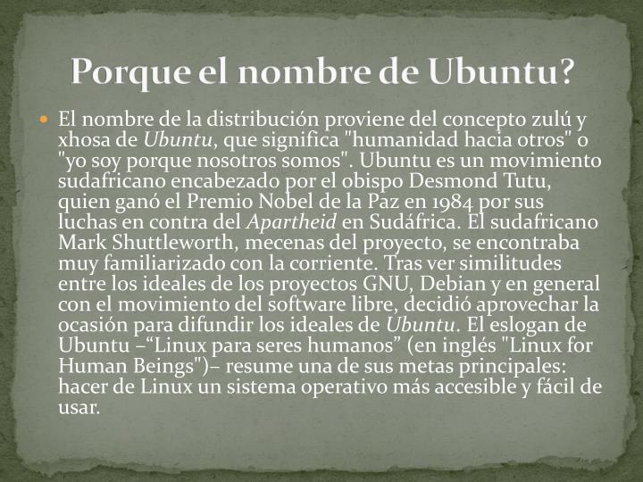 Porque el nombre de Ubuntu?