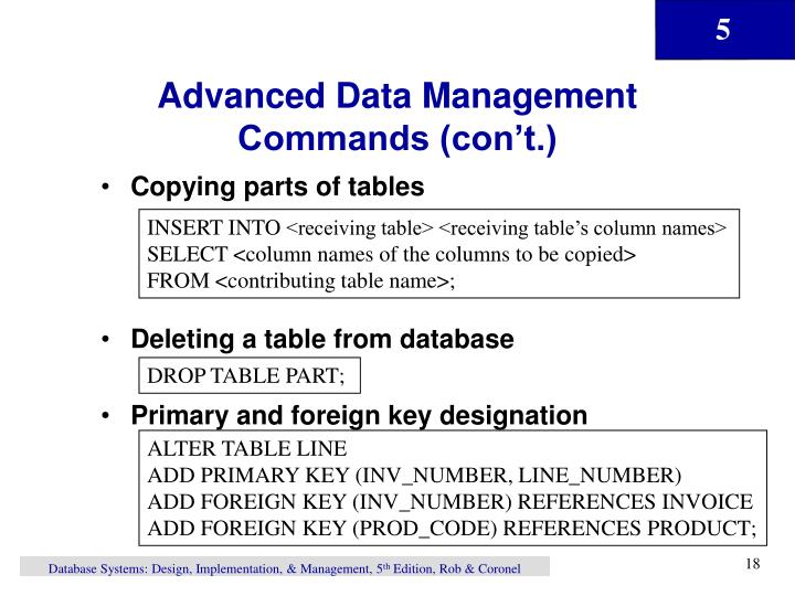 Advanced Data Management Commands (con't.)