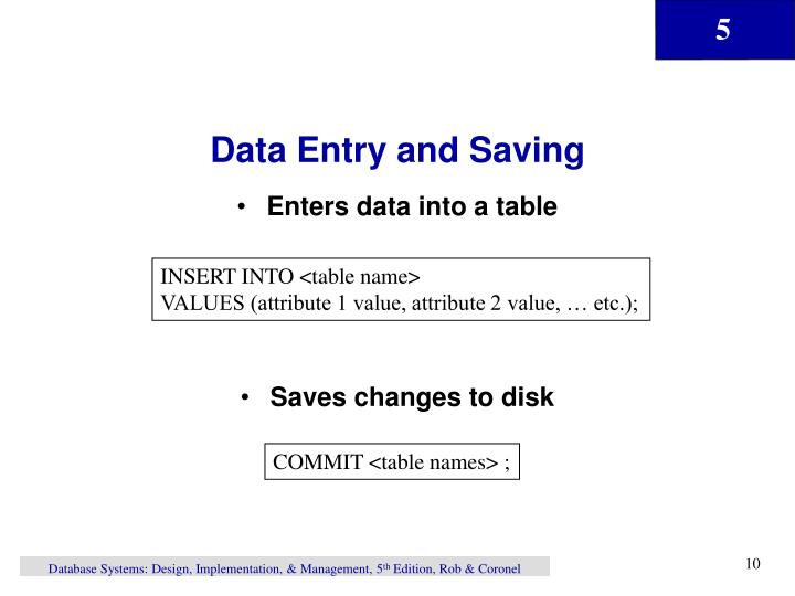 Data Entry and Saving