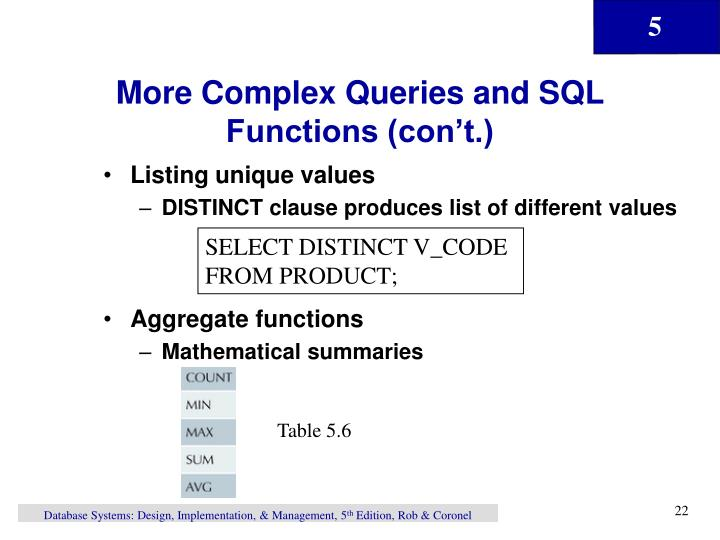 More Complex Queries and SQL Functions (con't.)