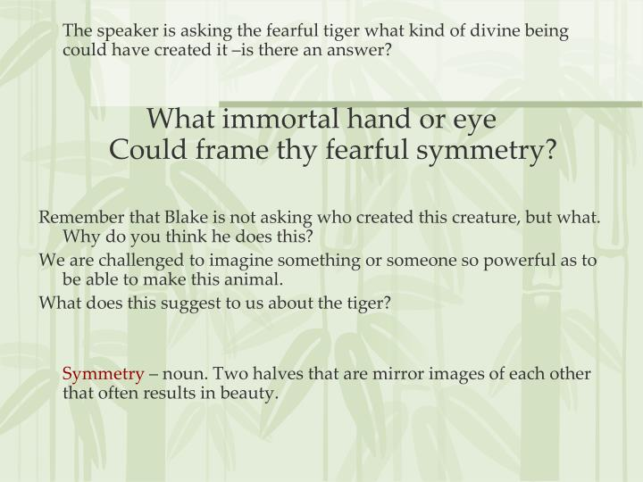 The speaker is asking the fearful tiger what kind of divine being could have created it –is there an answer?