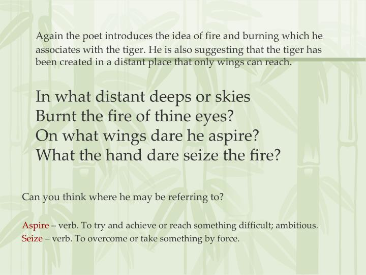 Again the poet introduces the idea of fire and burning which he associates with the tiger. He is also suggesting that the tiger has been created in a distant place that only wings can reach.