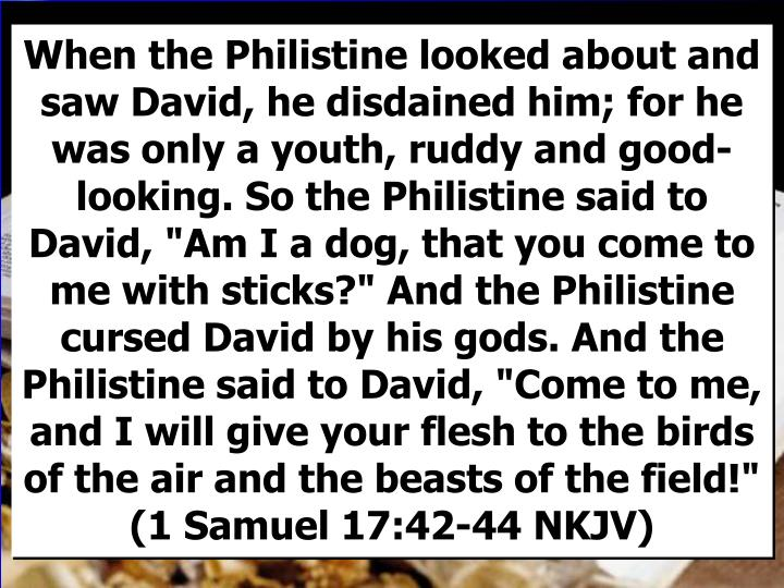 "When the Philistine looked about and saw David, he disdained him; for he was only a youth, ruddy and good-looking. So the Philistine said to David, ""Am I a dog, that you come to me with sticks?"" And the Philistine cursed David by his gods. And the Philistine said to David, ""Come to me, and I will give your flesh to the birds of the air and the beasts of the field!"" (1 Samuel 17:42-44 NKJV)"