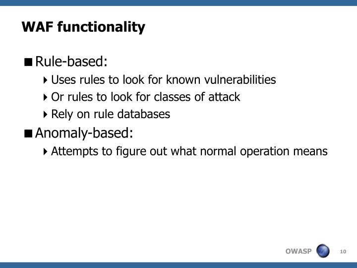 WAF functionality