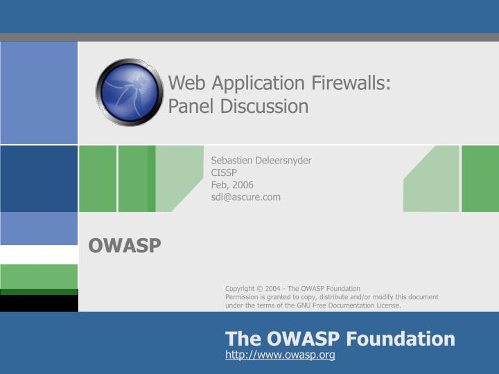 web application firewalls panel discussion