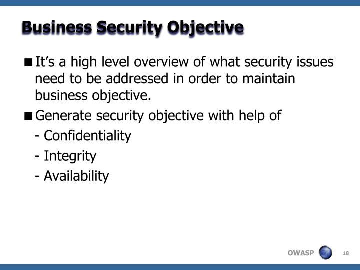 Business Security Objective