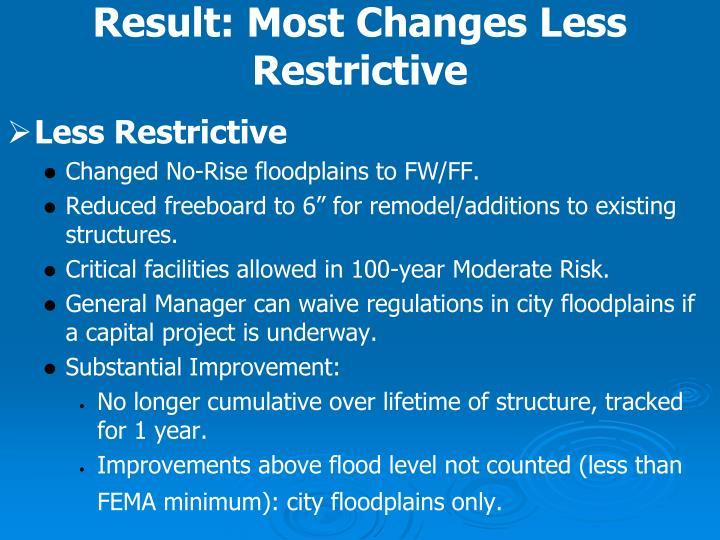 Result: Most Changes Less Restrictive
