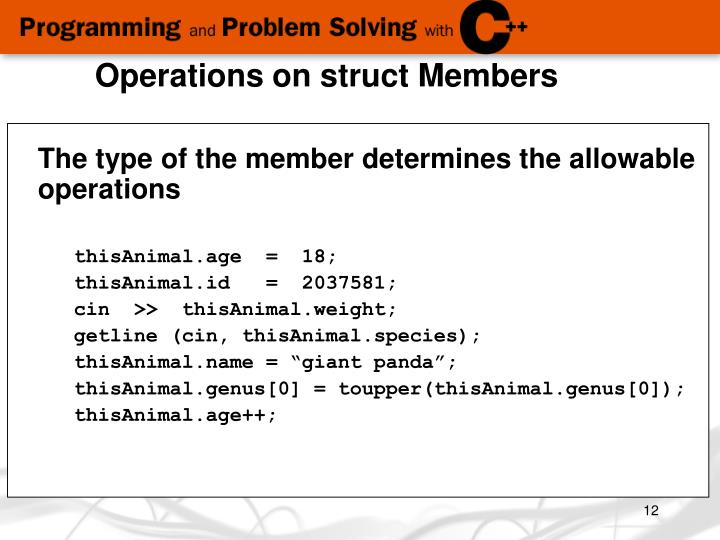 Operations on struct Members