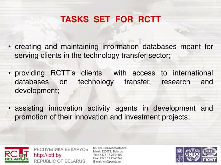 TASKS  SET  FOR  RCTT
