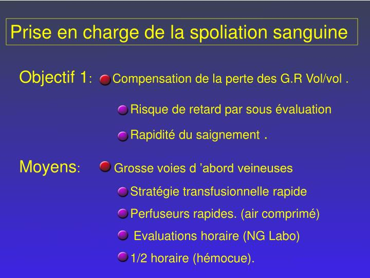 Prise en charge de la spoliation sanguine
