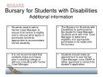 bursary for students with disabilities additional information
