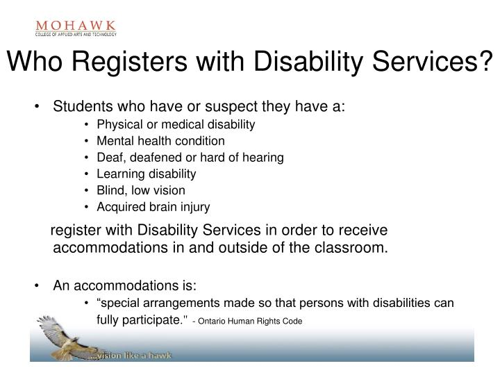 Who Registers with Disability Services?
