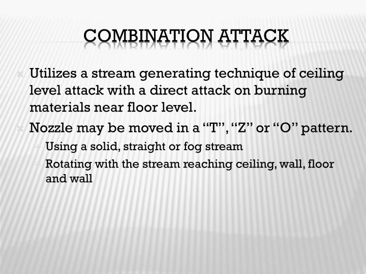 Utilizes a stream generating technique of ceiling level attack with a direct attack on burning materials near floor level.