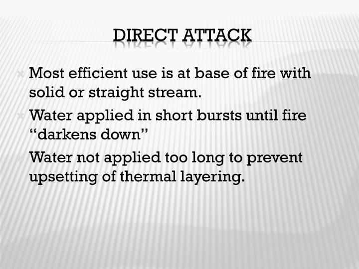 Most efficient use is at base of fire with solid or straight stream.