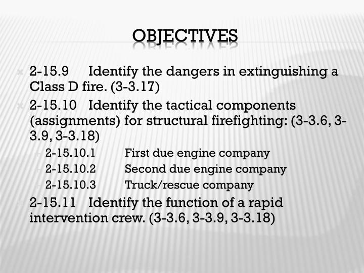 2-15.9	Identify the dangers in extinguishing a Class D fire. (3-3.17)