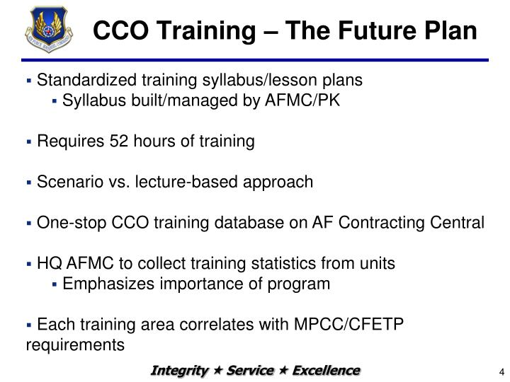 CCO Training – The Future Plan